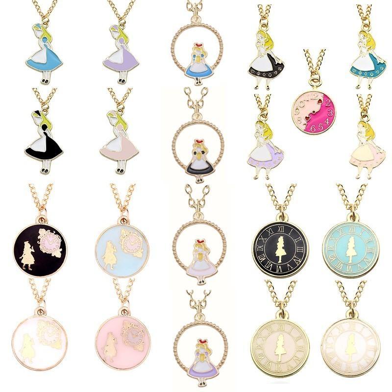 Мода Аниме Алиса Ожерелье Круглые Часы Золотая Цепь Красивая Девушка Подвески Ожерелья Для Женщин Дочь День Рождения Рождественские Подарки