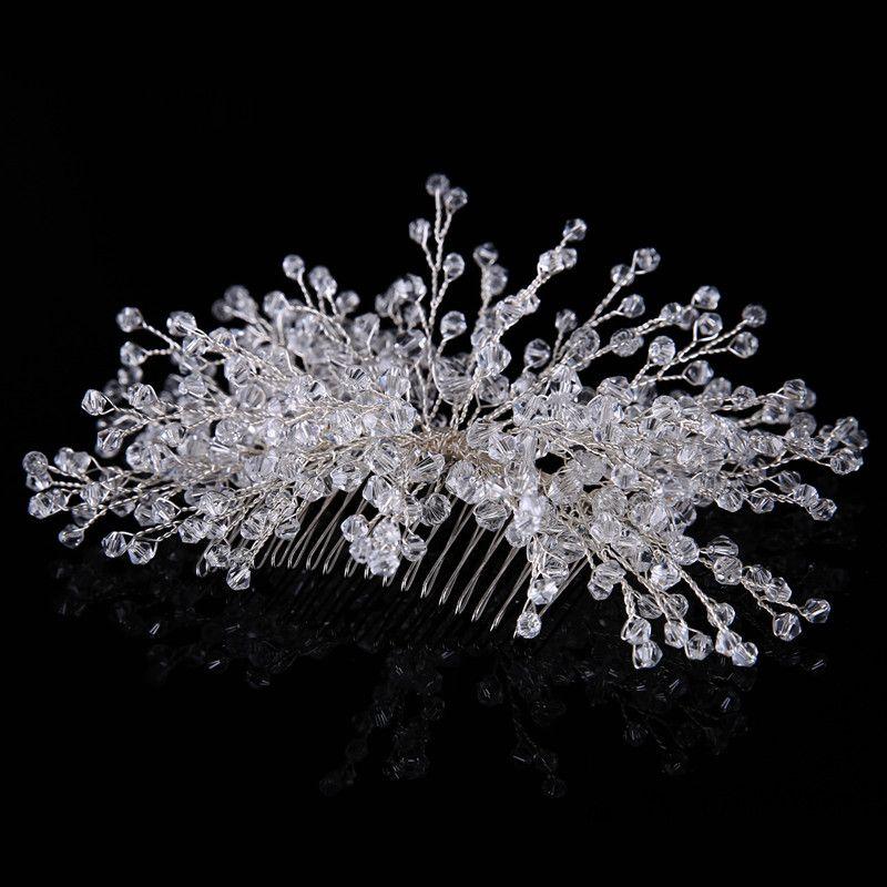 Peignes à la main mariée mariage européen peigne à la main cristal peigne à cheveux de mariée argent strass fille chapeaux de mariée femmes bijoux bijoux accessoires