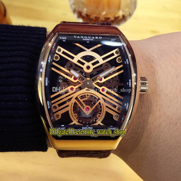 High Quality VANGUARD NEW SARATOGE V 45 T SQT Rose Gold Skeleton Dial Automatic Mechanical Mens Watch Rose Gold Case Leather Strap Watches