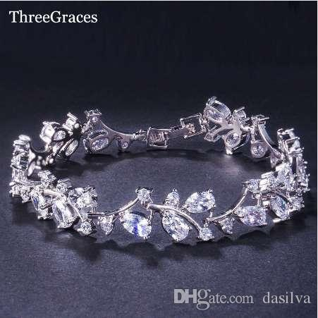 ThreeGraces Romantic CZ Jewelry Leaf And Flower Cubic Zirconia Bridal Wedding Bracelets Gift For Bridesmaid BR031