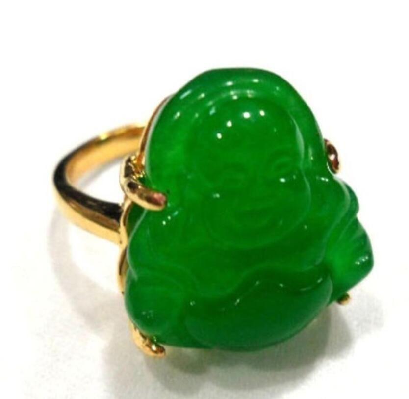 men/women's fancy carve green jades Buddha bless happy ring #7,8,9