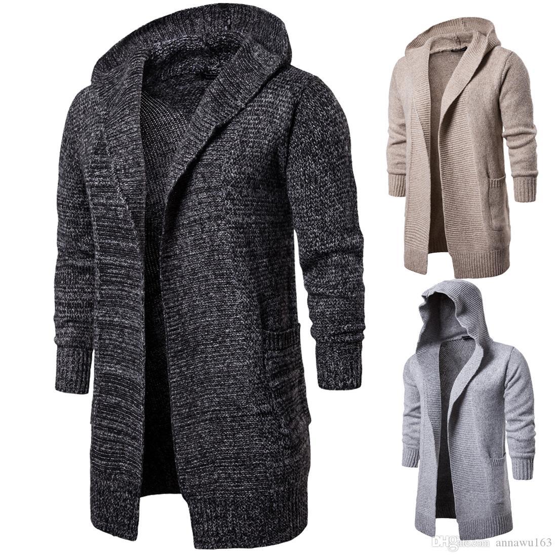 Новые моды кардиган Мень V-образный вырез Длинный свитер с капюшоном хлопка высокого качества Смешать Вязаная зима Mens свитер для продаж