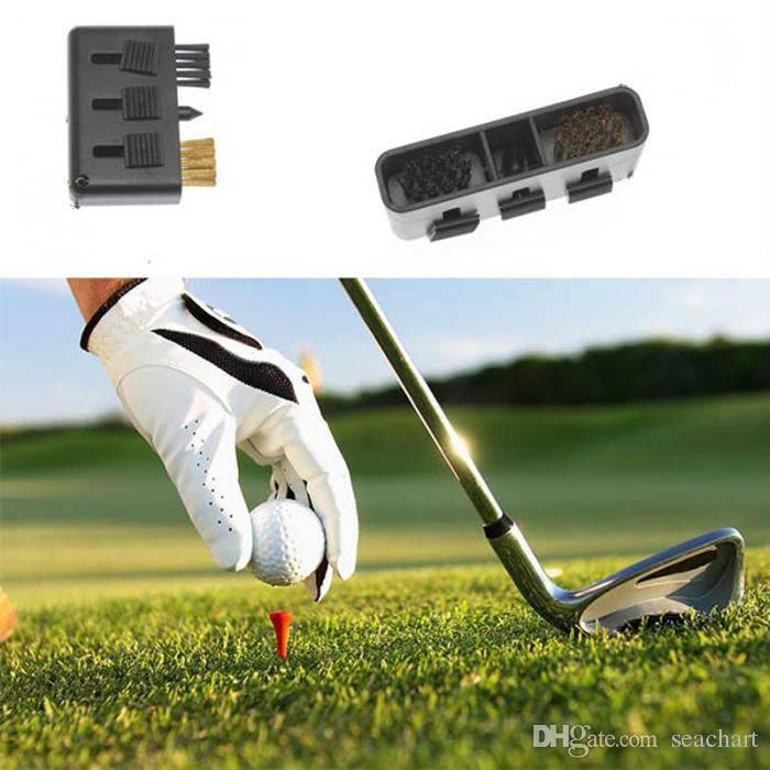 3 en1 Pocket Carry Golf Club Brosse portable Golf Putter Wedge à billes Groove kit de nettoyage outil de nettoyage noir pour bois / fer NY058