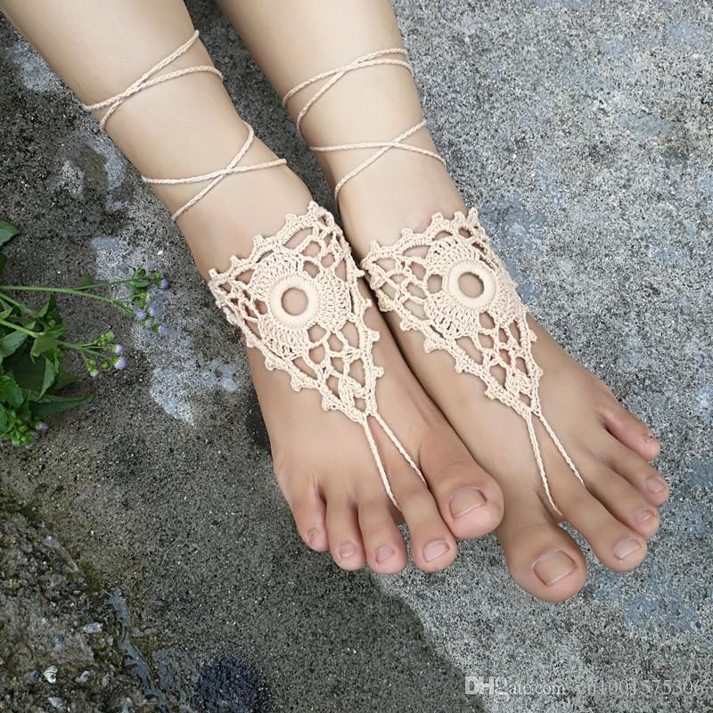 sandalias descalzas de ganchillo, hecho a mano, joyería de flor de pie desnudo, zapatos de yoga, playa, boda jardín floral, tobillera Boho.