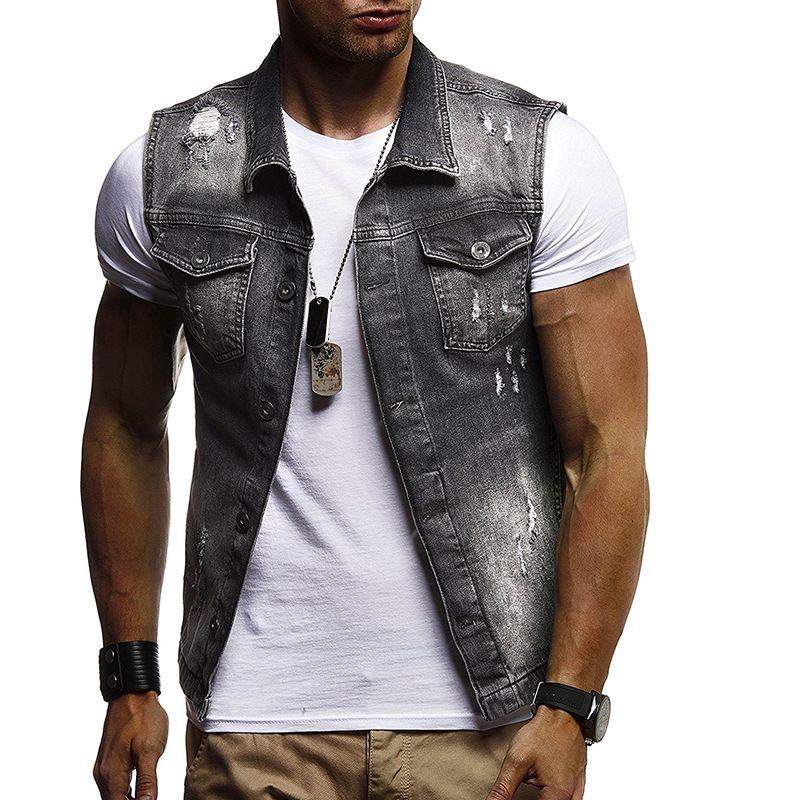 Fashion Denim Vest Vintage Men'S Jacket Sleeveless Casual Waistcoat Men'S Jean Coat Ripped Slim Fit Male Jacket Cowboy Washed