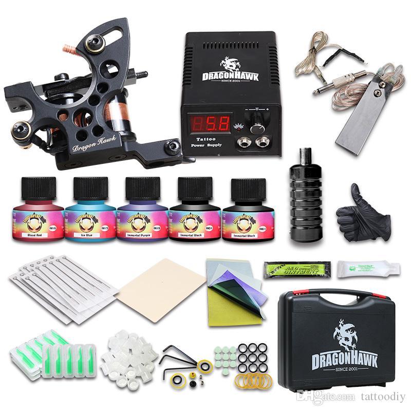 Beginner Tattoo Kit 1 Machine Gun LCD Power Supply Inks Needles Tips Carry Case