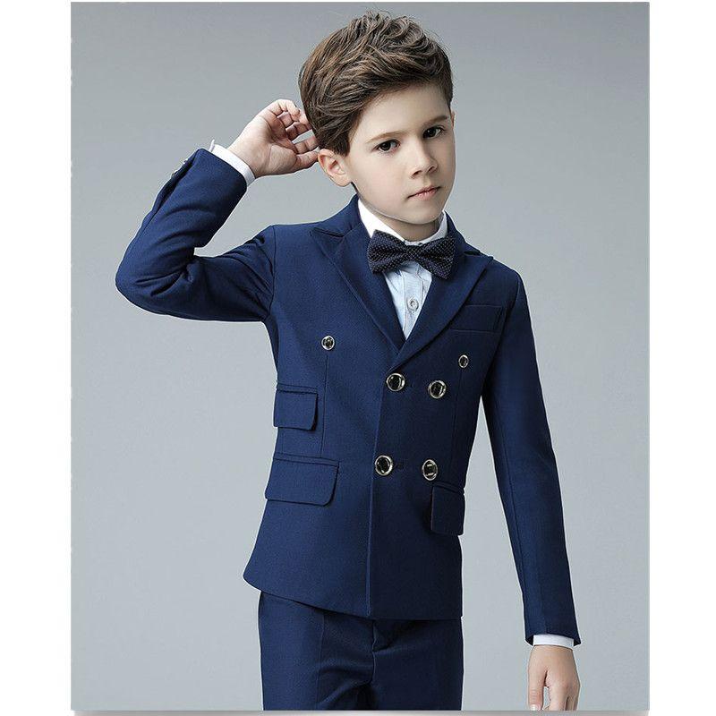 Özel erkek mavi beyefendi kruvaze takım elbise iki parçalı takım elbise (ceket + pantolon) çocuk yakışıklı iş resmi takım elbise elbise