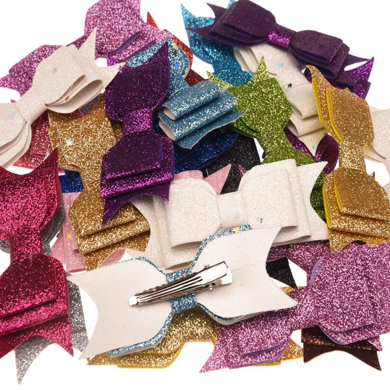 50pcs Sequin  Bow Fashion Accessory Bowknot Allitagor Clip Cute Barrette Glitter Chic Hair Accessory Boutique Hairbow