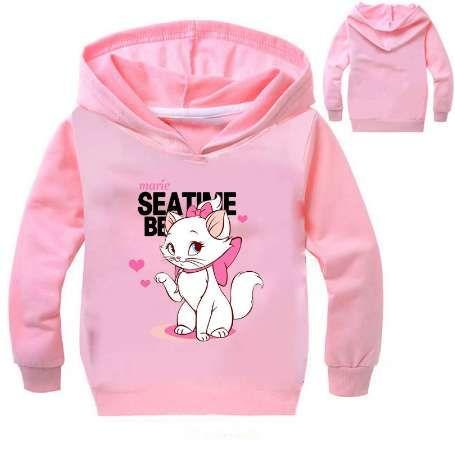 Новый милый кот Мари печати кофты для девочек с длинным рукавом зимние толстовки дети свитер мультфильм аниме футболка для детей Лолита