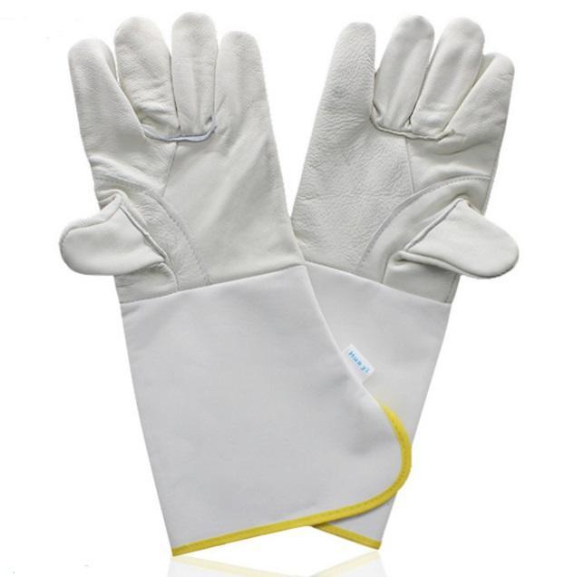 Guantes de soldadura largos de tela compuesta de cuero resistente al desgaste soldador seguro de mano de obra protección de las manos productos sección larga