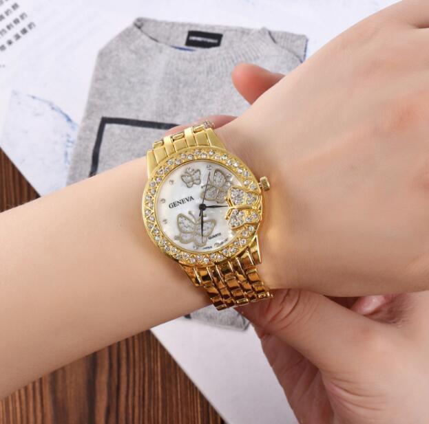 3 Выбор цвета золото серебристо розовое золото роскошный Кристалл бабочка стали полосы наручные часы высокого класса моды женщина кварцевые наручные часы