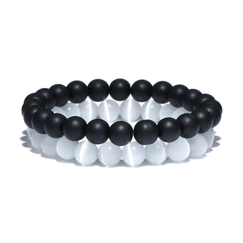 2 Pcs/Set Black White Natural Stone Beads Bracelet Sets Opal Gravel Elastic Beaded Couple Braclet For Men Women Hand Jewelry