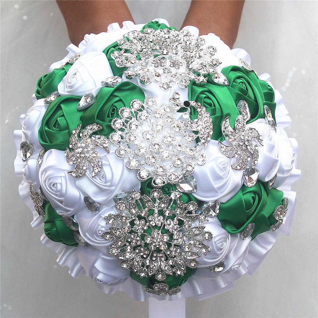 Bouquet Sposa Bianco E Verde.Acquista 18cm Cristallo Spilla Bouquet Da Sposa Bianco E Verde