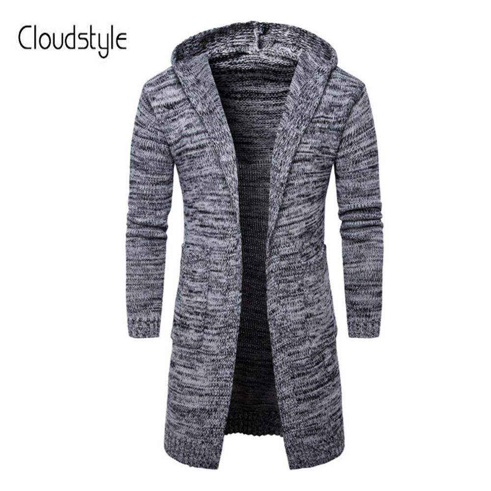 Cloudstyle 2018 Nouveaux Automne Hiver Hommes Pulls Moyen- Long Cardigan Slim Fit Décontracté Pull