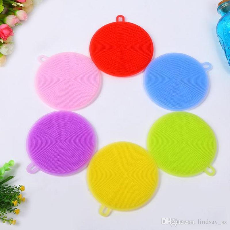 7 Colores Multi-función de Silicona Olla Plato Lavado Cepillo de Limpieza Antibacterial Almohadilla de fregar Cocina Scrubber Fruta Vegetal Limpio rápido
