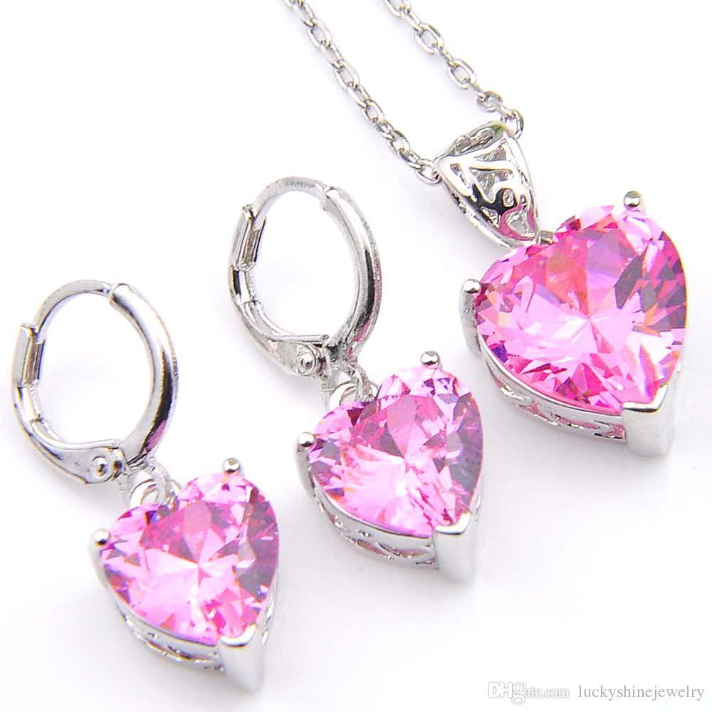 Novela Luckyshine 5 Sets Corazón de Moda Rosa Kunzite Cristal Cubic Zirconia 925 Colgantes de Plata Collares Pendientes Regalo Conjuntos de Joyas de Boda