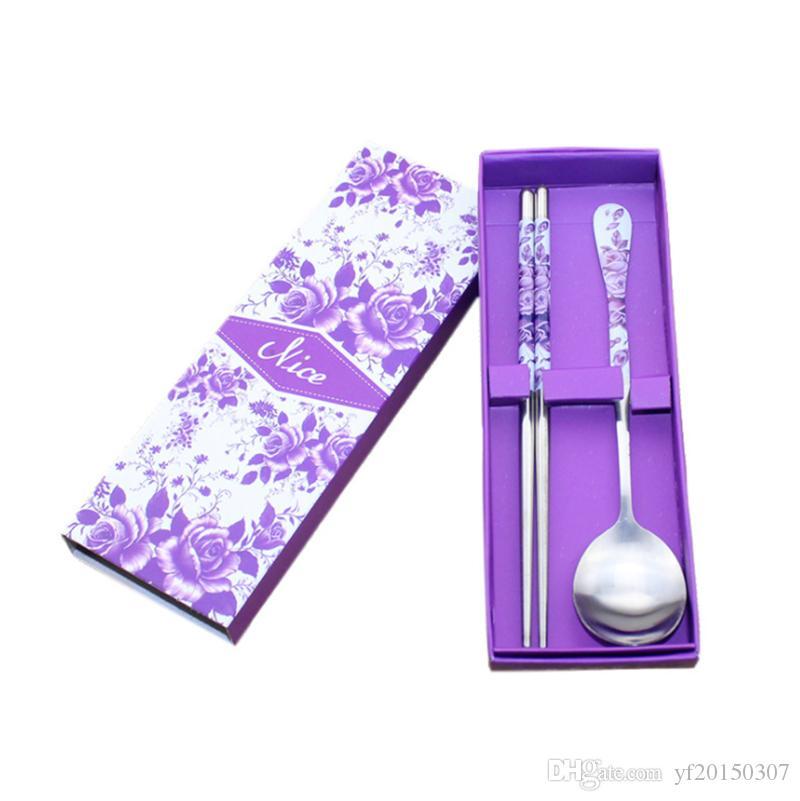 Juego de vajilla de palillos de cuchara de acero inoxidable Vajilla de porcelana azul y blanca para ir de picnic de camping