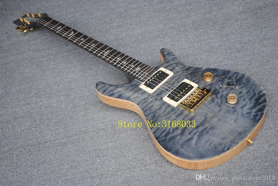 يمكن تخصيص الغيتار الكهربائي مع قشرة اللهب القيقب ، ترصيع علامات طائر الحنق ، قيقب اللهب