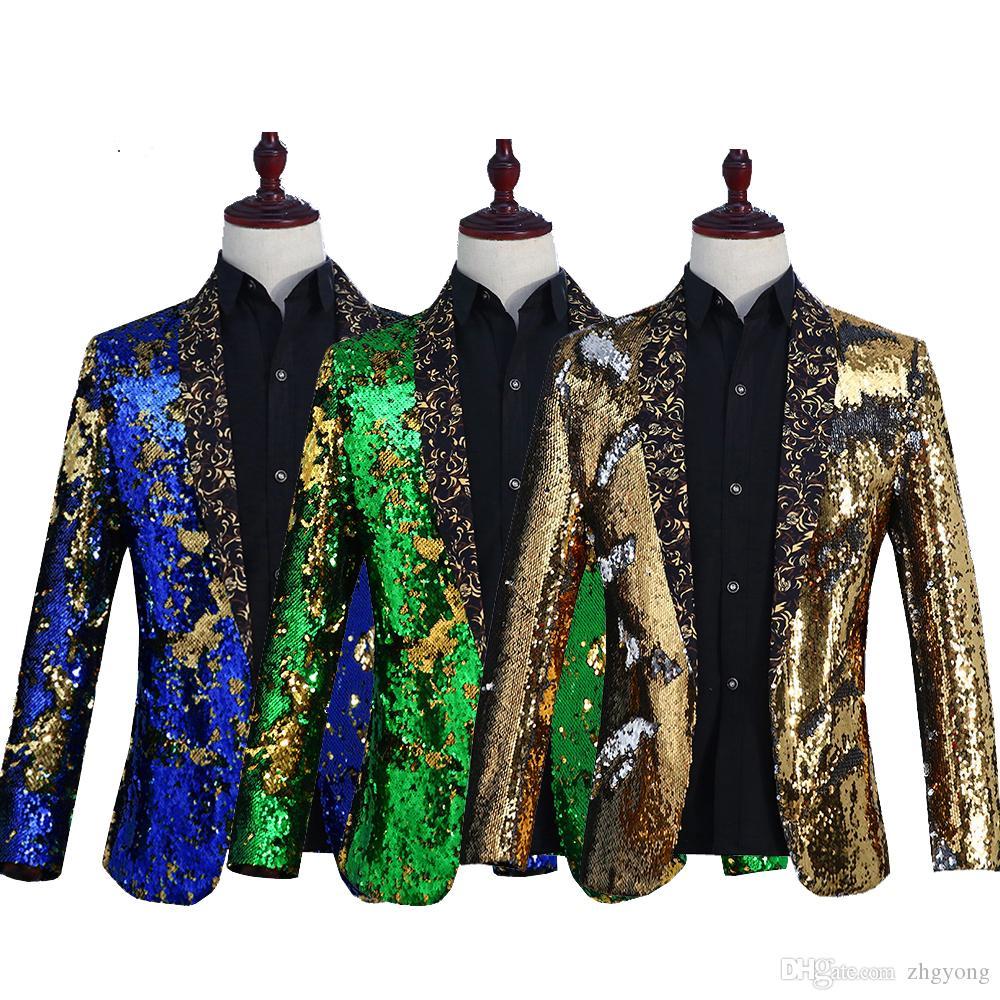 Scintillant Retournement Sequins Blazers Manteau Hommes Costume De Scène De Haute qualité Mode Populaire Veste Survêtement De Bal Discothèque DJ Chanteur Hôte Vêtements