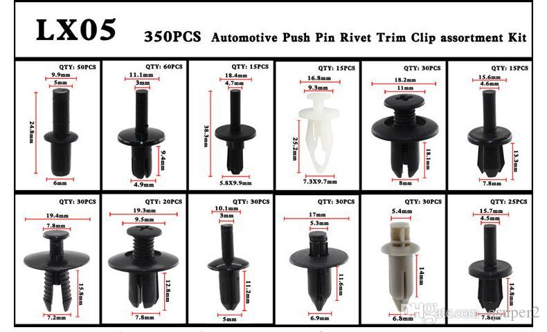 350pcs Auto Car Push Retainer Pin Rivet Trim Clip Panel Moulding Assortments Kit