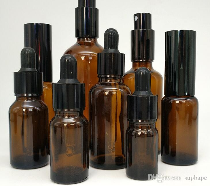 Venta al por mayor 5-100 ml Botella de perfume de lujo con aceite esencial 15-100 ml Botella de spray Botella de vidrio marrón de alta calidad