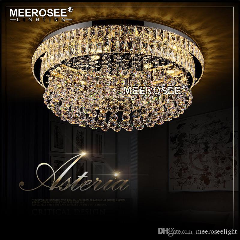 Modern Crystal Chandelier Light Fixture Luxury LED Lamp Lighting for Living Room Hotel Round Lampara de techo Restaurant