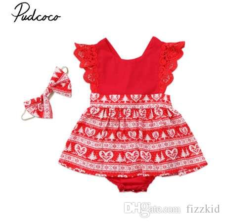 Рождество новорожденных девочек ползунки платья дети красный желтый Рождество кружева трепал ползунки платье платья партии оголовье наряды одежда 0-6Y