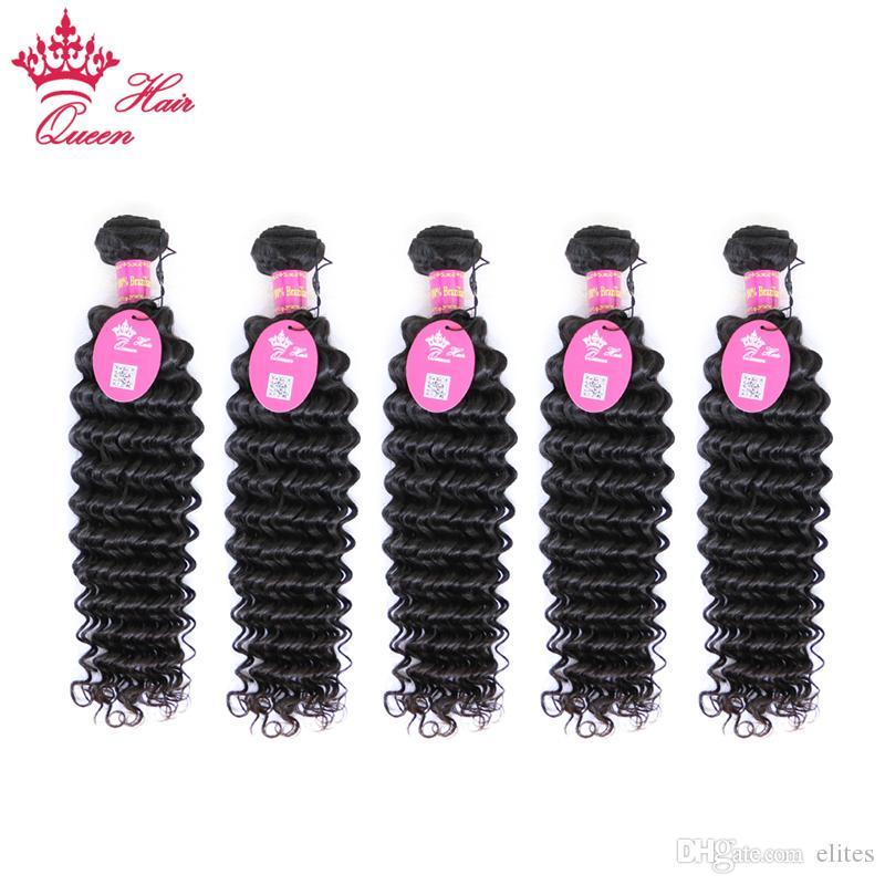 """Королева волос бразильский глубокий вьющиеся волны 5 шт. много DHL Бесплатная доставка 100% человеческих волос 12 """" -28 """" на складе можно покрасить и отбелить"""