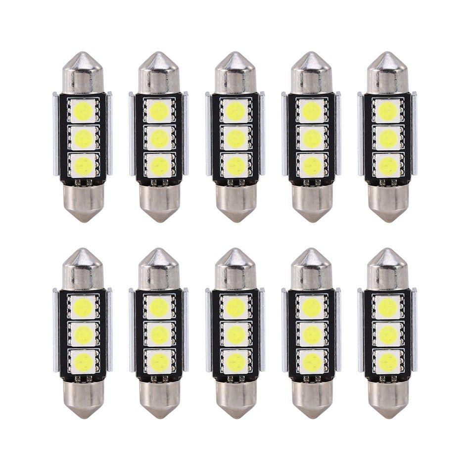10PCS / Set de vagones automático de 36 mm CANBUS sin error de 3 LED SMD 5050 6418 Licencia C5W placa Bombilla de luz LED cúpula