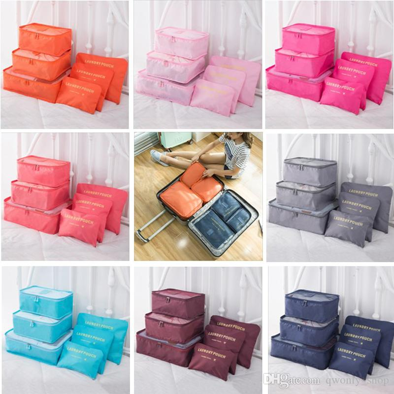 6pcs/lot Travel Home Luggage Storage Bag Clothes Storage Organizer Portable Cosmetic Bags Bra Underwear Pouch Storage Bags 8 Color