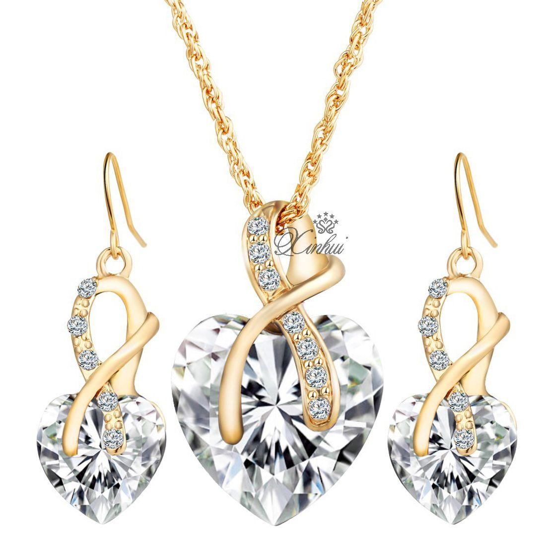 Chapado en oro Cubic Zircon Sistemas de la joyería para las mujeres Collar de cristal del corazón Pendientes Joyería Accesorios de la boda