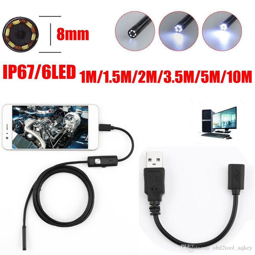 Aqkey 8mm Lente 720 P 6LED Android USB Endoscópio Câmera Flexível Serpente USB Tubo de Inspeção de Telefone Inteligente Câmera Endoscópio