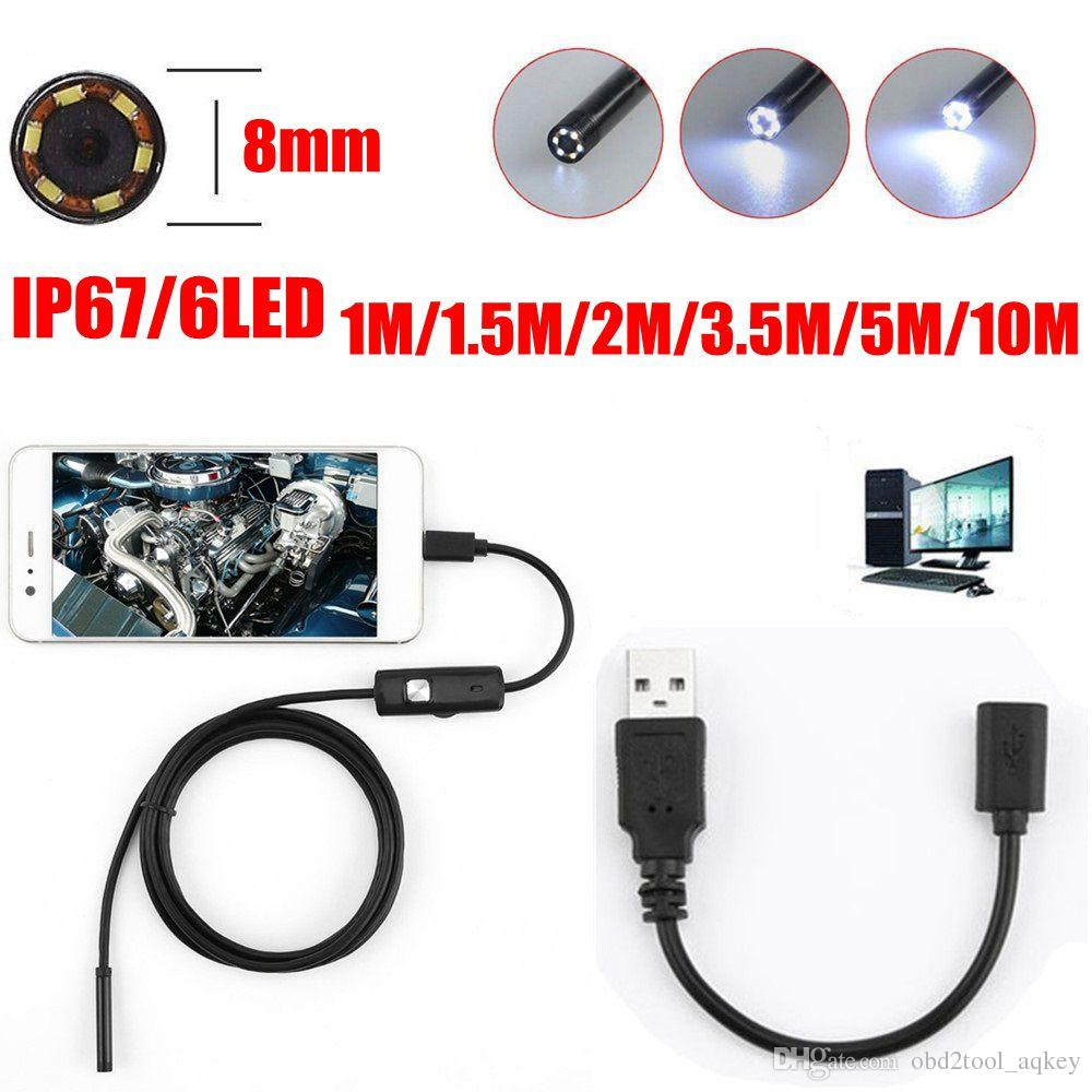 Aqkey 8mm Lens 720P 6LED Android Endoscopio Cámara Flexible Serpiente USB Inspección de Tubería Teléfono Inteligente Cámara de Boroscopio