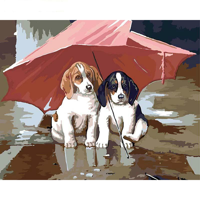 Frameless Dogs In Rain Diy Painting By Numbers Modern Wall Art Canvas Painting Acrylic Hand Painted Oil Painting Gift