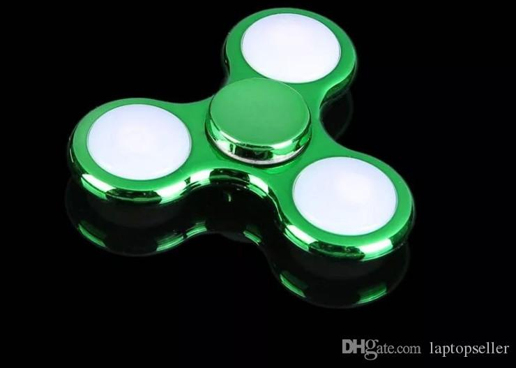 brand new LED Electroplate Hand Spinner Colorful Plating Plastic Fingertip Gyro Desk Toy Decompression