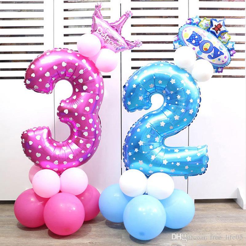 Numero di 32 pollici palloncini gonfiabili della stagnola cifre di ballons dell'elio della cifra Decorazioni del partito di compleanno Decorazione del partito della decorazione di nozze dei bambini