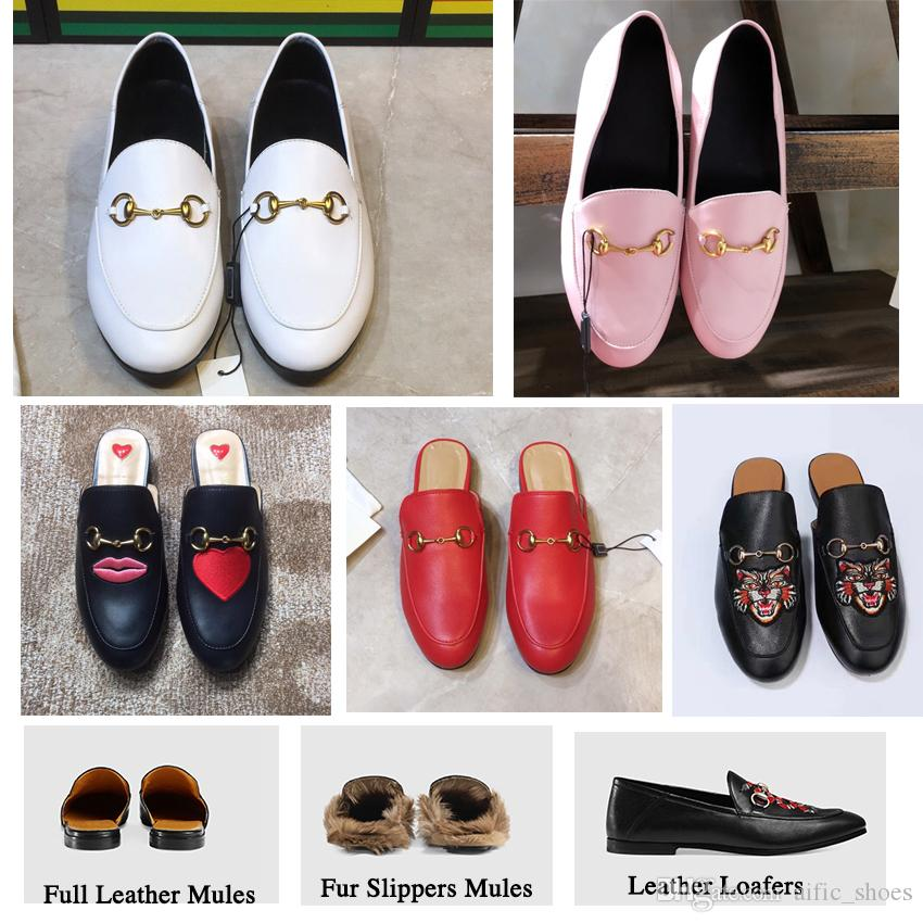 classic style beauty wholesale outlet Fur Mule Slippers Leather Flat Suede Shoes Fashion Ladies Luxury Outdoor  Women Brand Luxury Designer Fashion Chain Ladies Casual Shoes W1 Leopard ...