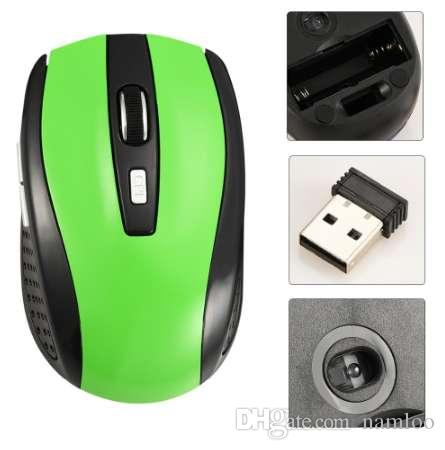 2.4G Wireless Mouse Portable Optical 6 Buttons 1200 DPI Mice for Computer PC Laptop Gamer Black Blue Green Red Color Mouse Green