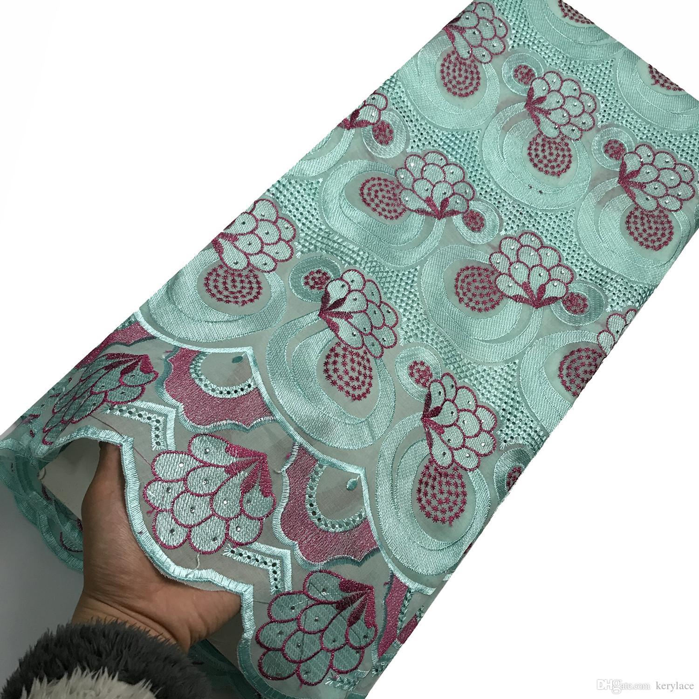 2020 Последние вышивки кружева Большой камень высокого качества ткань шнурка хлопка африканская Шитье ткани Нигерия Швейцарский Voile кружева вечернее платье KRL-3155