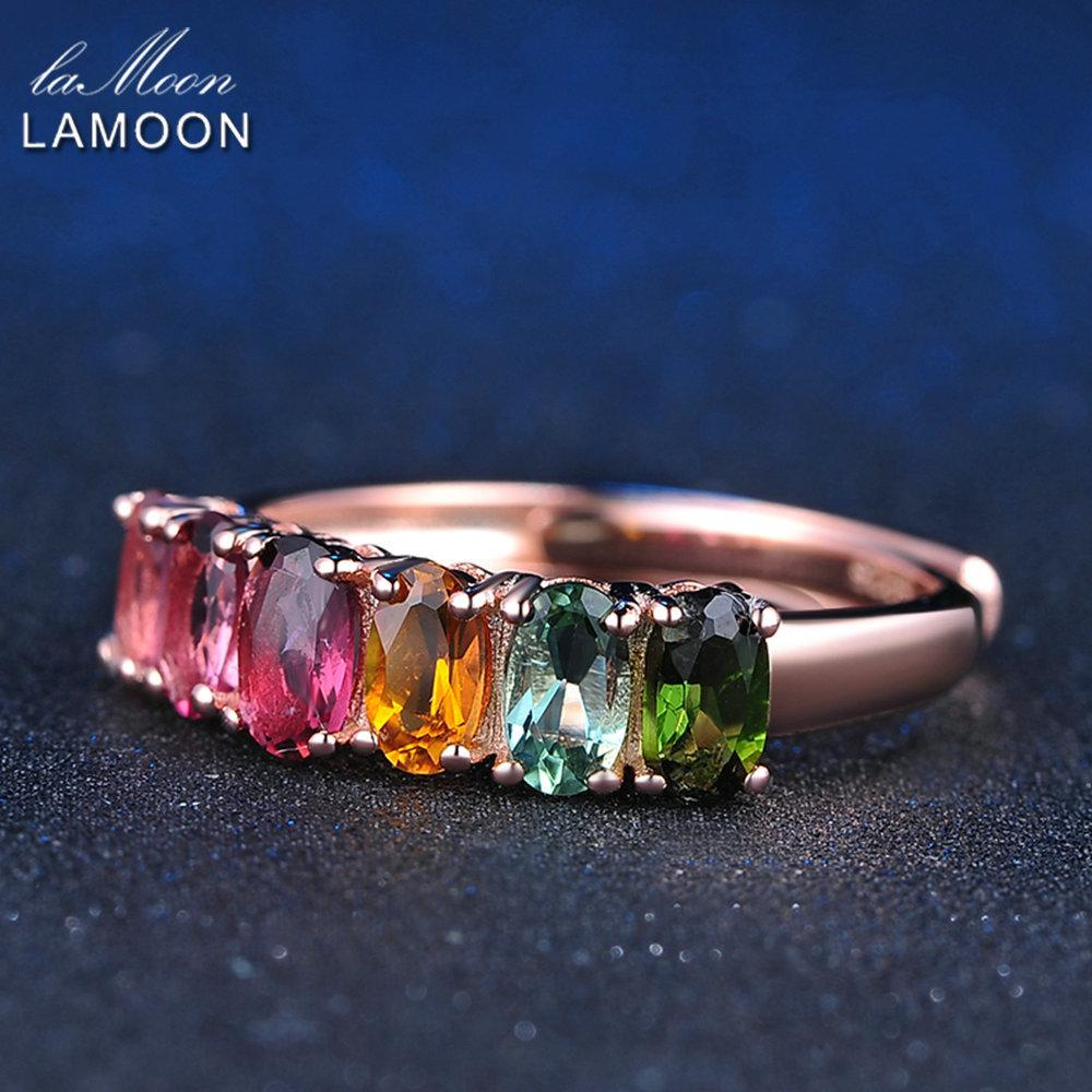 LAMOON 100% Real Natural 6pcs 1.5ct Oval Multi-color Tourmaline Ring 925 Sterling Silver Jewelry with 18K Rose Gold S925 LMRI005 S18101001