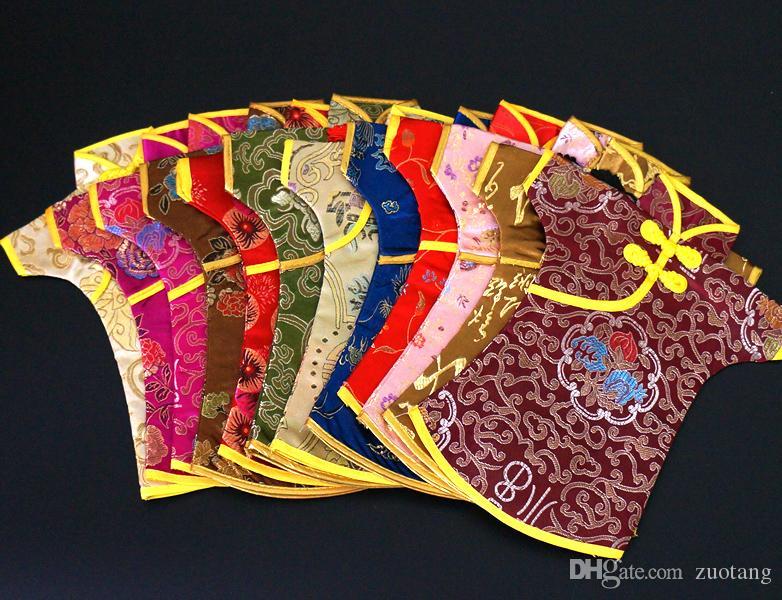 Antieke Chinese Stijl Wijnfles Cover Kersttas Tafel Decoratie Zijde Brocade Stof Rode Wijnzak Fles Pouch Fit 750ml 100pcs / lot