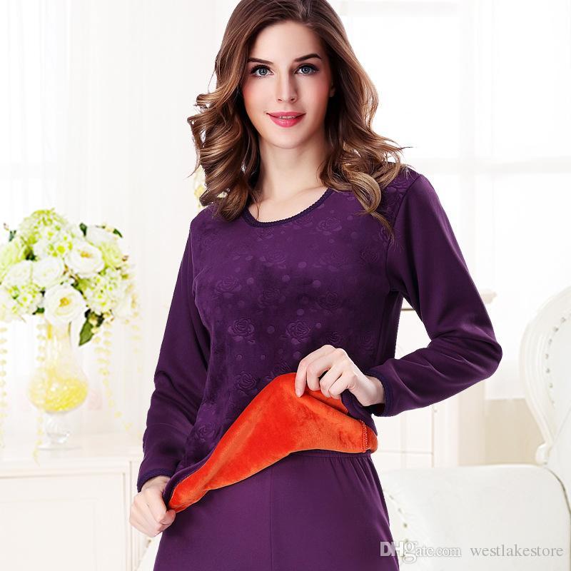 Winter Style Warm Thermal Unterwäsche Frauen Soft Cotton Prägedruck dick plus Samt plus Größe XXXL lange Unterhosen Frauen Sets