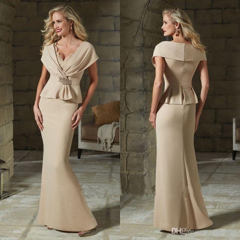 Elegante Spitze Mutter der Brautkleider V-Ausschnitt Formale Abendkleider Bodenlangen Hochzeit Gastkleid Prom