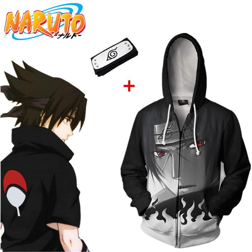 Asian Size Japan Anime Naruto Sasuke Casual Cosplay Costume 3D Unisex Baseball Coat Long Sleeve Soft Jacket Hoodies Headband