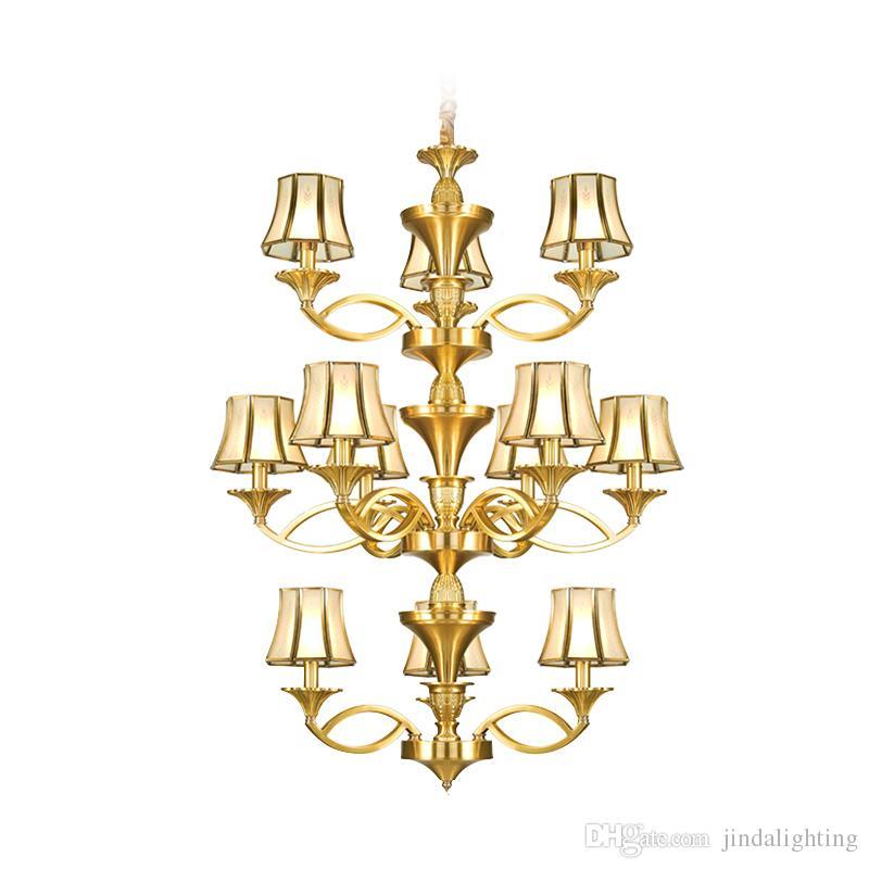 Europeanstyle villa lampadario di rame costruzione centrale lobby al piano un'atmosfera di lusso, lampada doppia scalinata a tre strati lampadario ZG8296