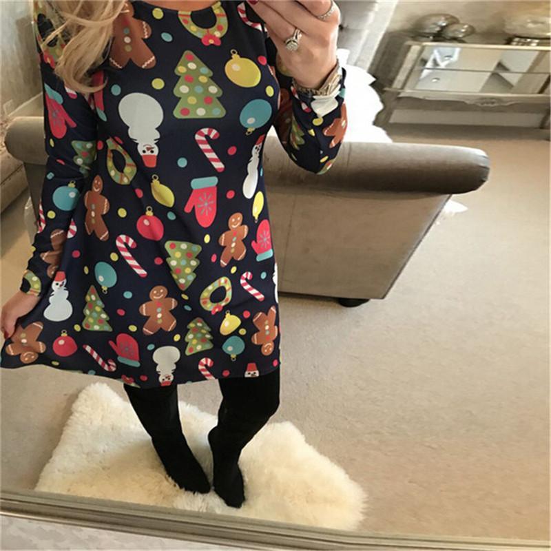 Fête Robes Chrismas Vêtements Grand Taille Automne Hiver Femmes À Manches Longues À Manches Longues Sténuaire Snowman Arbre De Noël Imprimé Slim Genou Longueur Dress S-5XL