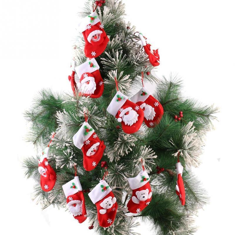12 unidades / pacote bonito papai noel meias de natal enfeites de decoração da árvore de natal