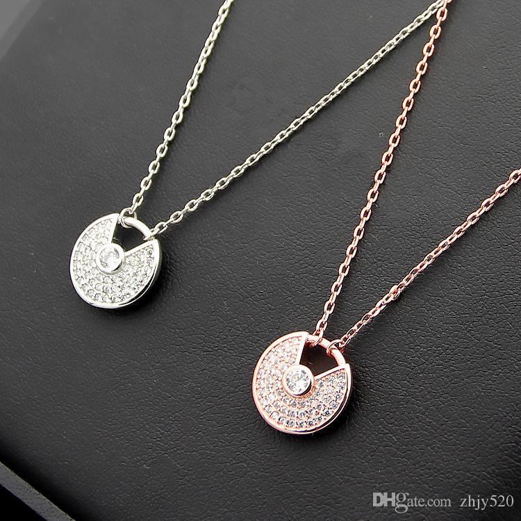 316L титана стали Марка любовь полный Алмаз пара ожерелье с бриллиантами дамы ожерелье цепь длина 45 см ширина кулона 1.3 см