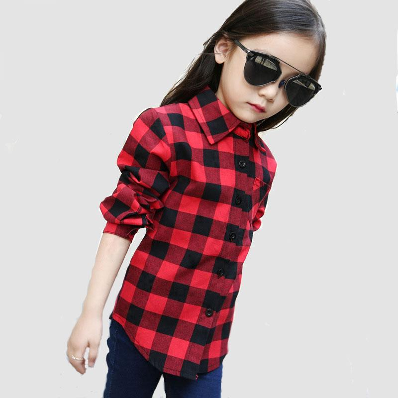 Fashion Spring Autumn Boys shirts For Girl Plaid Long Sleeve O-Neck Teenager Tops Cotton Children Clothings Kids Clothes Shirts