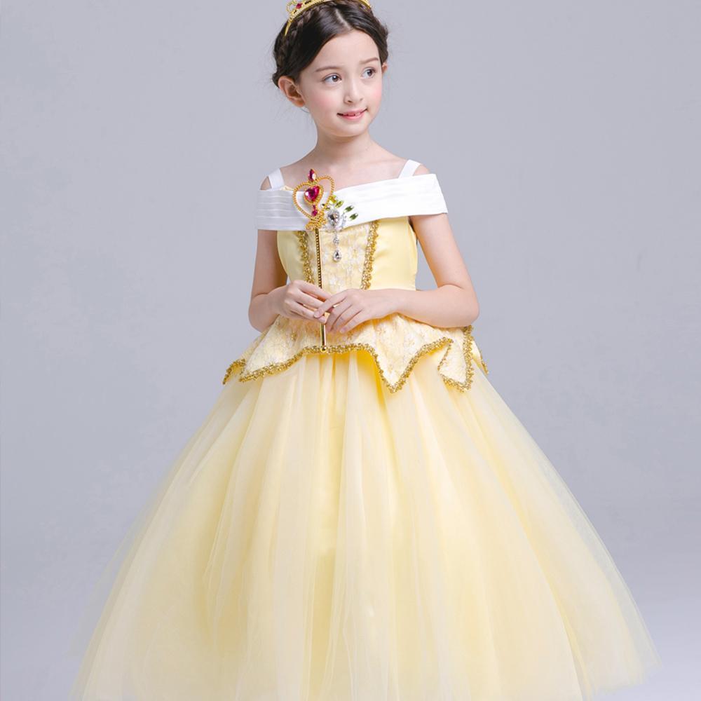 großhandel 4 12y weihnachten gelb kinder princess bella kleid kind mädchen  ballkleid lange kleider baby partei kostüm kind sommer hochzeit kleidung